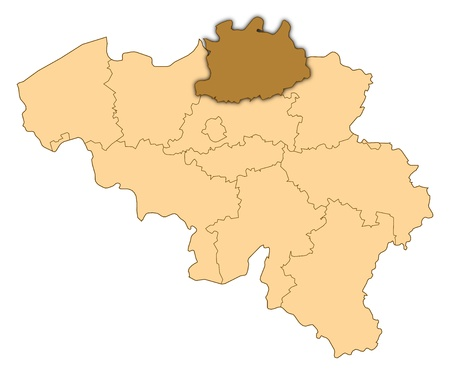 Map of Belgium where Antwerp is highlighted.