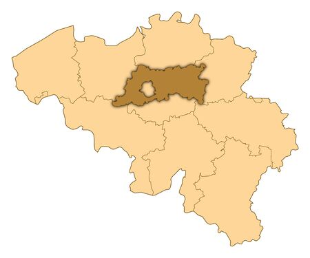 Map of Belgium where Flemish Brabant is highlighted.