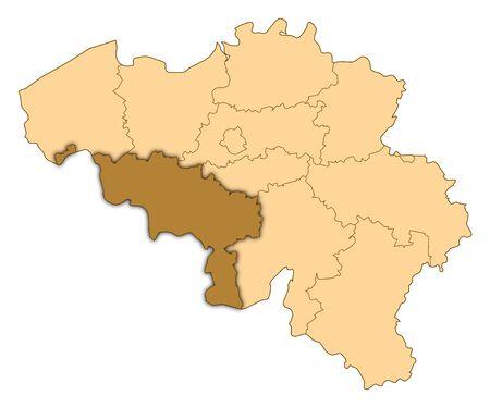 Map of Belgium where Hainaut is highlighted.