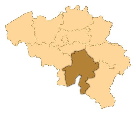 Map of Belgium where Namur is highlighted.