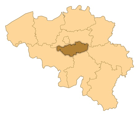 Map of Belgium where Walloon Brabant is highlighted.