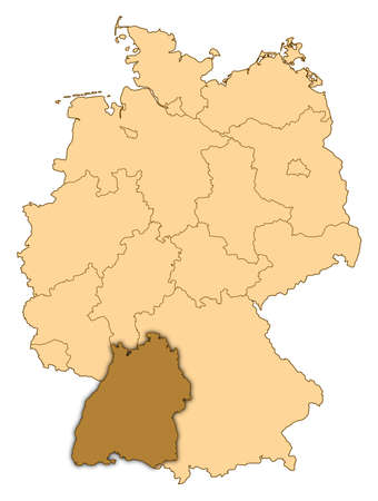 Map of Germany where Baden-WÃŒrttemberg is highlighted.