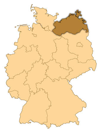Map of Germany where Mecklenburg-Vorpommern is highlighted.