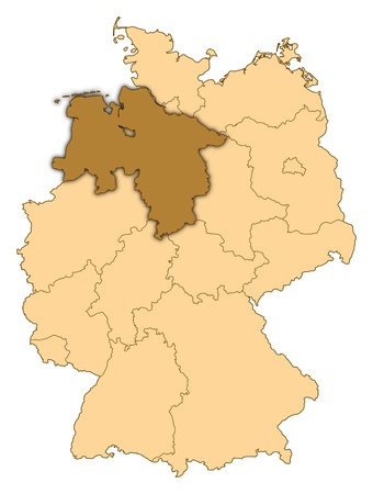 Map of Germany where Lower Saxony is highlighted.