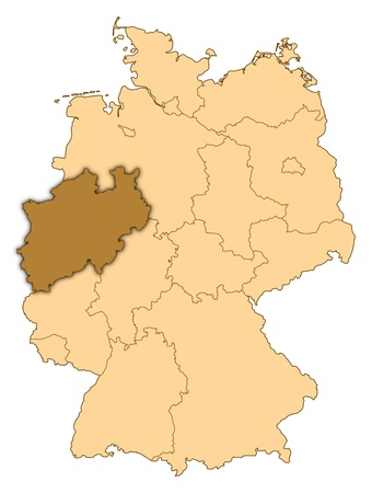 Map of Germany where North Rhine-Westphalia is highlighted.