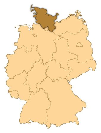 Map of Germany where Schleswig-Holstein is highlighted.