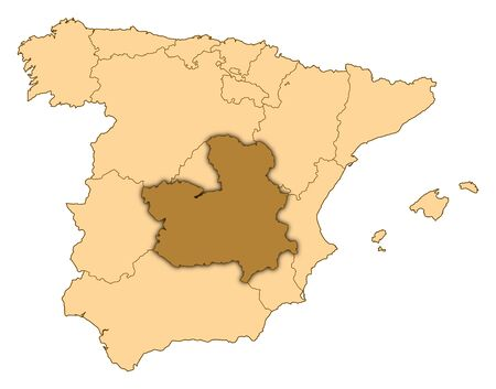 Map of Spain where Castile-La Mancha is highlighted.