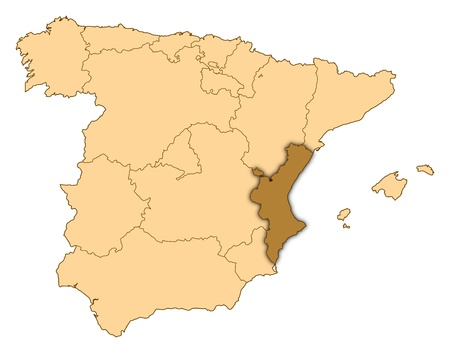 Map of Spain where Valencian Community is highlighted.