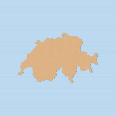 Map of Swizerland in brown on a blue background.