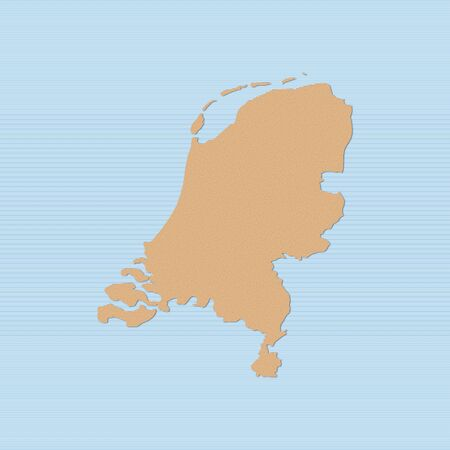 Map of Netherlands in brown on a blue background.