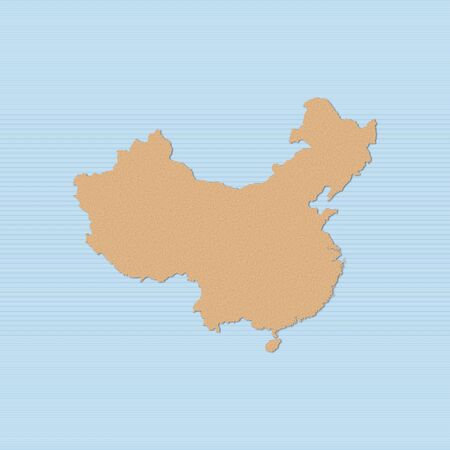 Map of China in brown on a blue background.