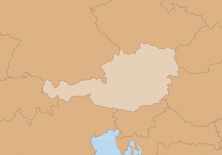 Map of Austria and nearby countries in brown, Austria is highlighted.