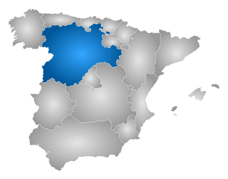 Map of Spain with the provinces, filled with a radial gradient, Castile and Le?n is highlighted.
