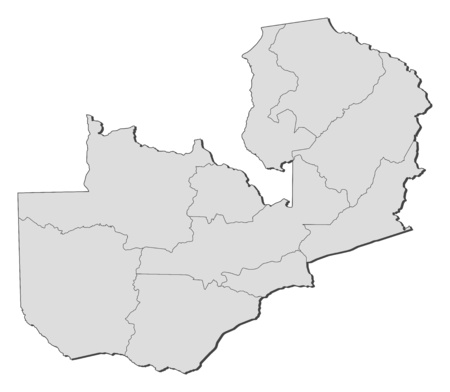 Map of Zambia with the provinces.: Royalty-free vector graphics