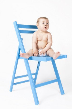 Baby on a blue chair