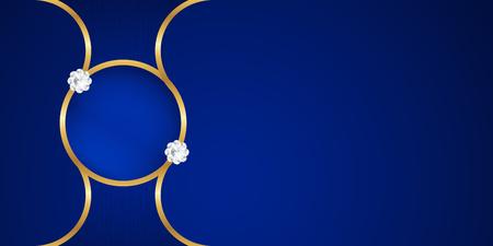 Ilustración de Abstract blue background in premium indian style. Template design for cover, business presentation, web banner, wedding invitation and luxury packaging. Vector illustration with golden border. - Imagen libre de derechos