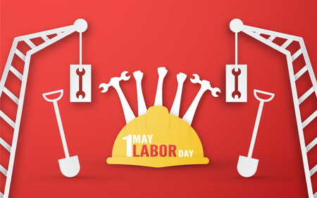 Illustration pour Happy Labor day on 1 May of years. Template design for banner, poster, cover, advertisement, website. Vector illustration in paper cut and craft style on red background. - image libre de droit