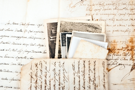Old letters with old photos