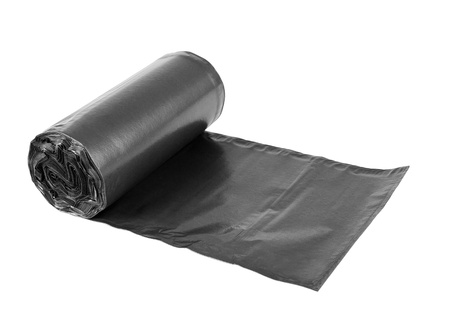 Rolls  of disposable trash bags isolated over white background