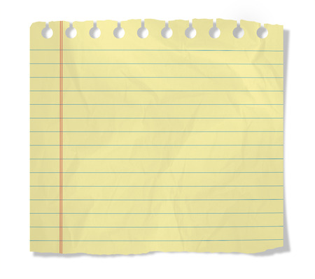 piece of yellow notebook sheet  isolated on white