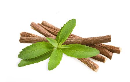 Foto für Roots licorice and stevia isolated on white - Lizenzfreies Bild