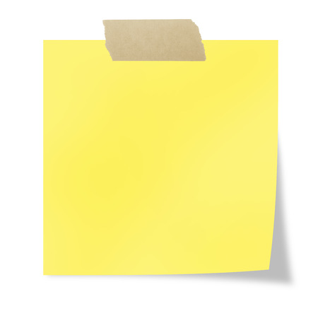 Yellow  post it with tape on a white background