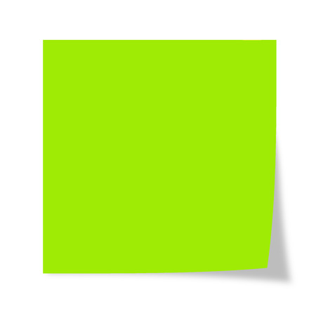 Green post it isolated on a white background