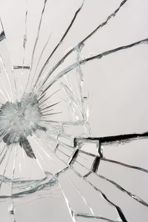 Macro of a shattered mirror.