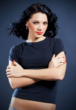 Portrait of beautiful sexy girk with black hair