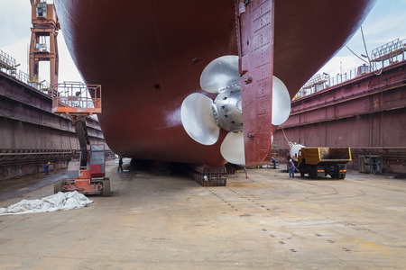 Photo for The new propeller mounted on a refurbished ship - Royalty Free Image