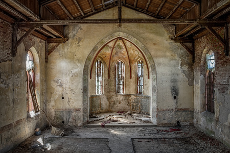 Photo for The interior of an abandoned church - Royalty Free Image