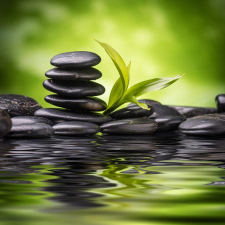 Foto de zen basalt stones and bamboo - Imagen libre de derechos
