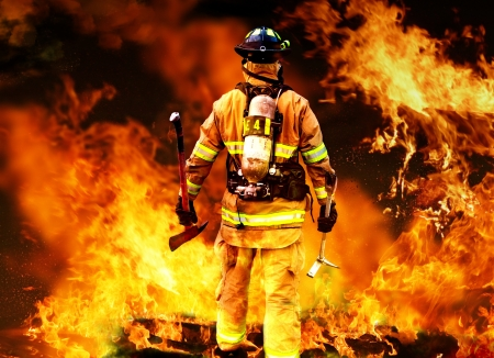 Modern firefighter searching for posible survivors