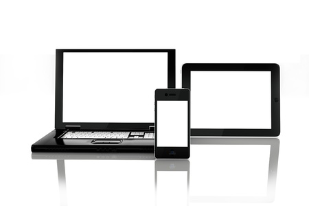 Blank electronic screens,blank empty white screens of smartphone mobile, Tablet PC and a laptop. rendered in 3D ,screens left white to insert custom screens of your choice