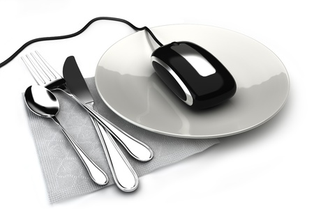 Ordering food online concept with mouse on a plate ordering food,takeout or groceries online. On a white background