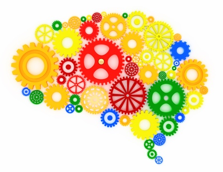 assorted gears in the shape of a brain, concept