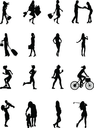 Everyday female, various silhouette poses of a female at work and at play