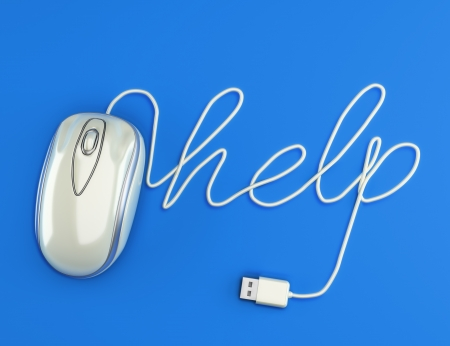 Computer help, white mouse with the cable spelling help with a blue background