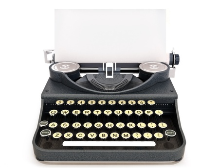Retro vintage typewriter front view with paper, room for text or copy space on a white background