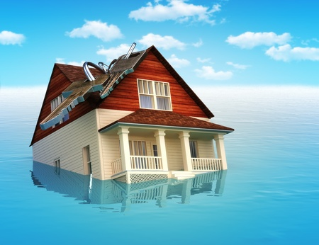House sinking in water ,real estate housing crisis,flooding, ect  concept