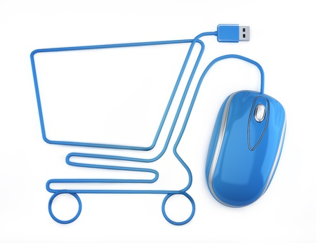 Online shopping, blue mouse in the shape of a shopping cart の写真素材