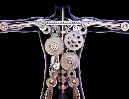 Male human xray with internal gears on a black background  Built like a machine or futuristic concept