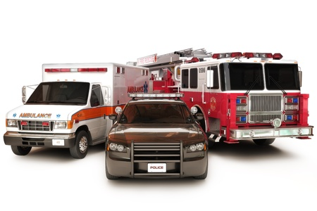 First responder vehicles, ambulance, police, and firetruck on a white background  3d custom models with custom decals