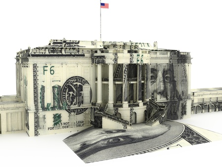 The White house textured with $100.00 dollar bills. Government spending, Government funds, political concept.