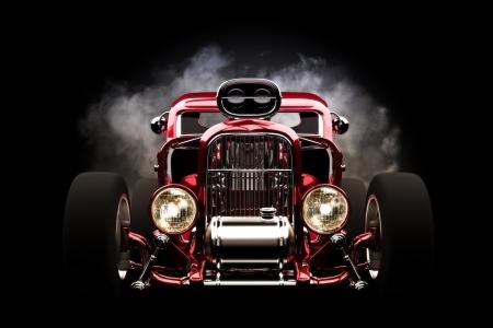 Hotrod with smoke background, 3d model