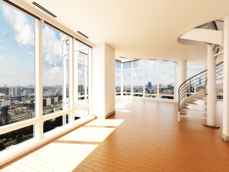 Modern interior with stair s overlooking a city