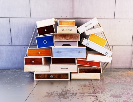 Wooden colored drawers, deco art , abstract background
