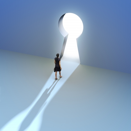 Key to success, Female walking to the entrance of a keyhole