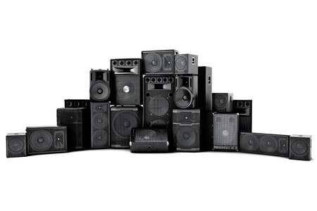 Large group of speakers in a row, loud or abused concept on a white background