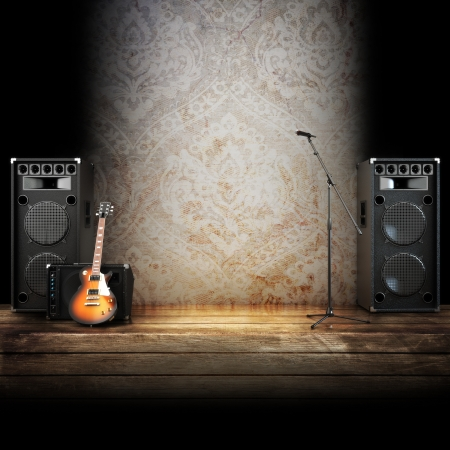 Music stage or singing background, microphone, guitar and speakers with wood flooring